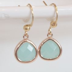 Aqua Blue Green Earrings Gold Framed Drop Dangle by JewelryTarget, £12.00