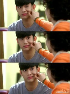 Kim Soo Hyun - My Love from the Star : LOL everyone does this to him when he tells them that he is an alien