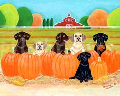 Labrador Painting Labrador Print Cute and by HappyLabradorsCrew. Cute painting of dogs in a pumpkin patch.