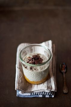 Hazelnut chia pudding with persimmon compote - vegan, gluten-free