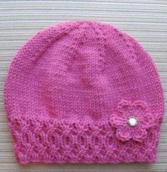 Knitted Hat with Flower, Free knitting pattern. Hat is knit and flower is crochet. Baby Hat Knitting Pattern, Baby Hat Patterns, Baby Hats Knitting, Knitting For Kids, Knitting Patterns Free, Knit Patterns, Free Knitting, Knitting Projects, Knitted Hats Kids