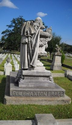 Confederate General Braxton Bragg at Magnolia Cemetery (Mobile, Ala) Confederate Statues, Confederate Monuments, Confederate States Of America, Pet Cemetery, Cemetery Statues, Cemetery Headstones, American Civil War, American History, Southern Heritage