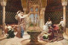Édouard Frédéric Richter (1844-1913) La Danse au Harem Huile sur toile signée, datée 1883 et située Grenade en bas gauche - Galerie Ary Jan