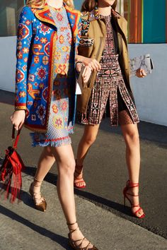 Is your Street Style Tribe Glamorous? Showcase fab lace-up statement heels by pairing with a luxe, embroidered frock and coat.