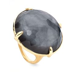 Ippolita 18k Rock Candy Gelato Hematite Ring ($1,365) ❤ liked on Polyvore featuring jewelry, rings, accessories, gold, rock jewelry, clear rings, clear crystal ring, bezel set ring y 18k ring