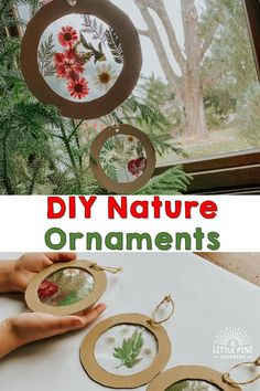DIY Christmas ornaments are a special part of our family holiday traditions. These ornaments are so easy to make and are absolutely beautiful! Forest School Activities, Nature Activities, Craft Activities, Toddler Activities, Summer Crafts, Holiday Crafts, Fun Crafts, Crafts For Kids, Christmas Cards To Make