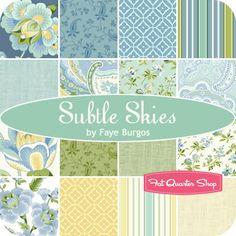 Subtle Skies Fat Quarter Bundle Faye Burgos for Marcus Brothers Fabrics - Fat Quarter Shop- not out til 10/2013