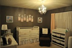 Another beautiful nursery...love the chenille chocolate brown rocking chair and ottoman:)