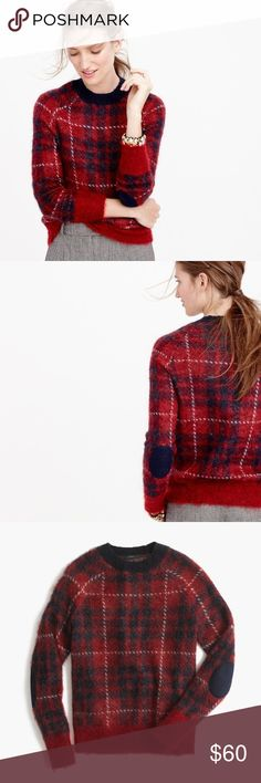 J. Crew plaid sweater NWT J. Crew. Brushed wool-blend crewneck sweater in plaid. Size XXXS. NEW WITH TAGS! This pretty plaid sweater gets a cool update thanks to a fuzzy wool blend and contrast trim. Rib trim at neck, cuffs and hem. Elbow patch detail. Sold out online! 34% wool, 33% mohair, 33% nylon. J. Crew Sweaters Crew & Scoop Necks