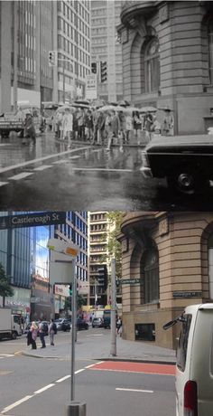 The corner of Castlereagh and King Streets, Sydney in 1969 and in [City of Sydney - Phil Harvey. By Phil Harvey] Phil Harvey, Sydney City, Sydney Australia, Vintage Stuff, Historical Photos, Old Photos, Past, Old Things, Corner