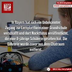 In Bayern hat sich ein Unbekannter Zugang zur Lernplattform einer Grundschule verschafft und dort Nacktfotos veröffentlicht, die eine 8-jährige Schülerin gesehen hat. Die Lehrerin wurde zuvor aus dem Chatraum entfernt. #bayern #lehrer #lehrerin #schule #schüler #digital #fakten Pictures, Naked, Teachers, Primary School, Bavaria