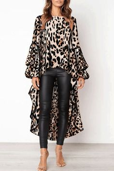 PickYourLook Leopard Print Long Sleeve Ladies Tops Irregular Ruffles Shirts Womens Tops and Bouses Blusas Mujer De Moda Blouse Leopard Print Outfits, Leopard Top, Leopard Dress, Cheetah, Look Fashion, Womens Fashion, Winter Fashion, Fashion Site, Fashion Stores