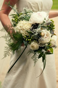 bouquet made of white peonies, hydrangea, velvety lambs ear, succulents and hypericum berries. Not planning any wedding but just had to pin this - stunningly beautiful!