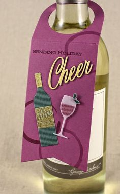 Sending Holiday Cheer Wine Bottle Tag by Lizzie Jones for Papertrey Ink (December 2014)