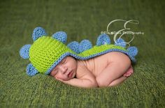 Image of Newborn Baby Dinosaur Hat with Attached Cape