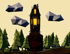 """Check out new work on my @Behance portfolio: """"Low Poly Haunted House"""" http://be.net/gallery/44216139/Low-Poly-Haunted-House"""