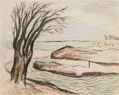 Vinterbild med träd och vatten by Carl Fredrik Hill