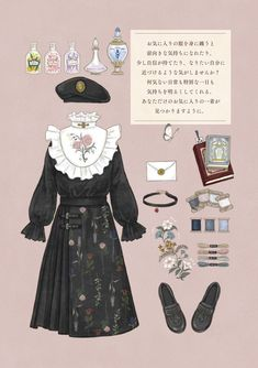 Vintage Fashion Sketches, Fashion Design Drawings, Kleidung Design, Estilo Lolita, Drawing Anime Clothes, Clothing Sketches, Anime Dress, Anime Outfits, Character Outfits