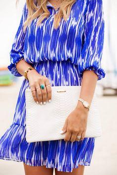 Love cobalt blue and white prints