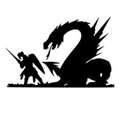 Knight Fighting A Dragon Die-Cut Decal Car Window Wall Bumper Phone Laptop