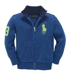 NWT Ralph Lauren Boys Big Pony Full Zip Long Sleeves Cotton Blue Sweater Size 2T #RalphLauren #Cardigan #DressyEveryday