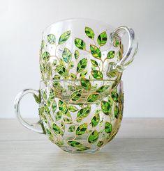 Floral mugs set of 2 big 17 oz cups for couple, painted green leaves mugs, gardening tea cup set, nature lover mugs, glass mugs set - Cute Home Decor - Glass Painting Designs, Paint Designs, Green Mugs, Glass Coffee Mugs, Coffee Cups, Tea Cup Set, Cute Mugs, Bottle Art, Mugs Set