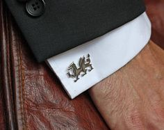 Cufflinks Cuff Link - Solid Silver - Welsh Dragon - Hand Crafted Hand Made - Wales - Welsh Flag - Smart - Quality - Gift for Him - Wedding Welsh Symbols, Welsh Gifts, Welsh Dragon, Suit Accessories, Flag Design, Etsy Uk, Well Dressed Men, Cufflinks, Plating