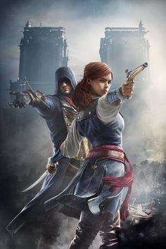 Arno and....? Okay, this looks legit.... so why does she have a TEMPLAR CROSS on her ASSASSIN ROBES????? I cannot wait to find out why this chapter is called UNITY!