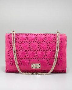 @Valentino @Helen McMurren Hill Marcus fuchsia floral lace cutout handbag