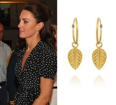 The Duchess wore her Vinnie Day Gold Plated Logo Leaf Earrings during the 2011 Royal Tour of Canada. The ever popular pair retail for £114, the hoops themselves are 1.5cm with the leaf hanging off each hoop being 1.5 cm. Vinnie Day's collections are inspired by different countries and the original Leaf Collection,