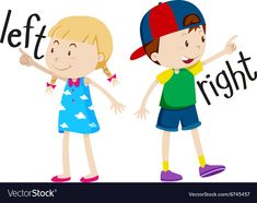 Girl on the left and boy on the right Royalty Free Vector - Lisa Learning English For Kids, English Lessons For Kids, Learn English Words, Teaching English, English Activities, Preschool Learning Activities, Preschool Activities, Opposites Preschool, Ingles Kids