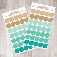 35 Teardrop Sticker Sheet   November - Teals (Erin Condren November Colors)