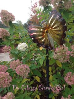 Butterfly Totem, Garden Totem, Glass garden art, yard art, repurposed recycled up cycled glass, unique garden decor, sun catcher,  www.TheGlassyGardenGal.com