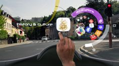 The concept is augmented reality inside your car.  Presumably the car drives itself by this point because something this awesome could cause more wrecks than alcohol.
