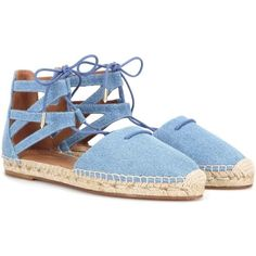 Aquazzura Belgravia Denim Espadrille Sandals (479 AUD) ❤ liked on Polyvore featuring shoes, sandals, blue, espadrilles shoes, denim sandals, denim espadrilles, blue espadrilles и blue denim shoes
