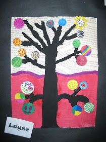 Art Lessons Elementary, Lessons For Kids, Autumn Display Classroom, Kandinsky Art, Tree Plan, Recycled Art Projects, Black Acrylic Paint, Old Book Pages, Art Lesson Plans