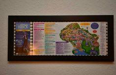 Framed Disney Park Maps