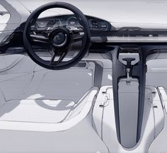 Porsche Mission E interior sketch by Felix Godard Car Interior Sketch, Car Interior Design, Interior Design Sketches, Industrial Design Sketch, Car Design Sketch, Interior Rendering, Interior Concept, Automotive Design, Car Sketch