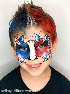 Awesomeness by Elisa Griffith Mask Face Paint, Let Freedom Ring, Face Painting Designs, July Crafts, Animal Faces, Cute Faces, Face Art, Fourth Of July, Body Art