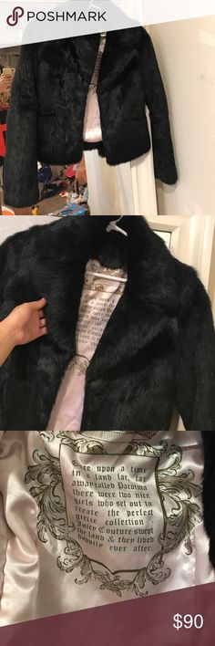 Black fur coat juicy couture Juicy couture black fur coat. It's pink satin from the inside. It's 100% authentic. Don't forget to check out the rest of my closet and to bundle it'll be cheaper. 💛✨ NO TRADES. Juicy Couture Jackets & Coats