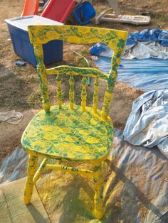 My Painted Threw Lace Chair. My Kitchen Is Decorated With John Deere  Tractors And Sunflowers
