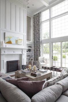 Gorgeous Designs Are on Display at the Hamptons Designer Showhouse is part of Double Height Living Room Interior - Lillian August kept the great room's look serene and light Home Living Room, Living Room Designs, Living Room Decor, Living Spaces, High Ceiling Living Room Modern, Tall Fireplace, Fireplace Wall, Fireplace Molding, Moulding