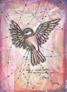 Original Art Mixed Media Painting Pink Bird - Memory