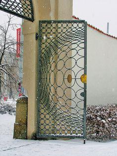 Prague-  detail of Klarov Street entrance gates and portal-
