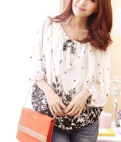 Three Quarter Batwing Sleeve Chiffon Floral Top