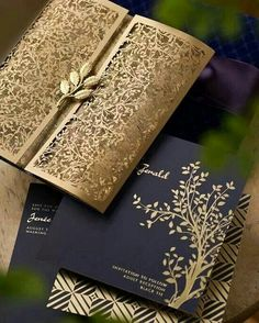 Gold wedding stationery - Very elegant. Hot Trends: Fall in Love with These Super Unique Laser Cut Wedding Invitations Laser Cut Invitation, Laser Cut Wedding Invitations, Wedding Stationary, Invitation Design, Invites, Unique Invitations, Invitation Envelopes, Indian Wedding Invitation Cards, Indian Wedding Cards