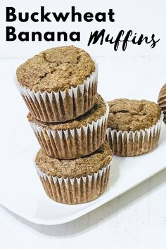 Eggless buckwheat banana muffins recipe - made using buckwheat flour (kuttu ka atta), banana, butter and brown sugar. The ingredients used in the recipe are allowed in Hindu fasting or vrat or upvaas. So these muffins can be eaten during the vrat or fast like Navratri, ekadasi. These muffins are very soft, moist and spongy. The taste and texture will be different than regular muffins. Healthy Muffin Recipes, Healthy Muffins, Baking Recipes, Dessert Recipes, Desserts, Navratri Recipes, Chocolate Banana Muffins, Eggless Baking, Gluten Free Muffins