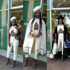 2016 - Modern Xhosa attire design to her university graduation. More university graduation outfits South African Dresses, African Attire, African Wear, African Fashion, African Outfits, African Style, African Clothes, African Design, Red Fashion