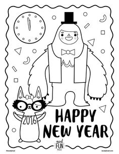 New Years Eve Free Printable Coloring Page