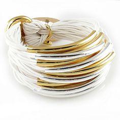 Multi Tube Bracelet - Silver Gold White, Gillian Julius, Jewelry $275